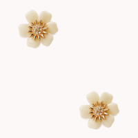 FOREVER 21 Glam Girl Floral Studs Cream/Gold One