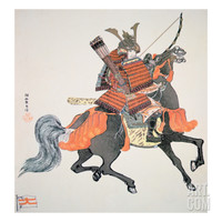 Samurai of Old Japan Armed with Bow and Arrows Giclee Print by Japanese School at Art.com