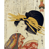 A Courtesan Raising Her Sleeve Print by Utamaro Kitagawa at Art.com