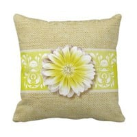 Gerbera Daisy Scroll Burlap 1 yellow bandeau