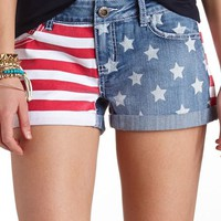 FLAG PRINT CUFFED DENIM SHORTS
