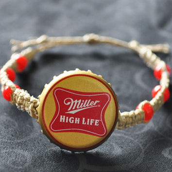 Red and Gold Miller High Life Beer Recycled Bottle Cap Hemp Bracelet