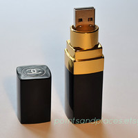 Limited Time Chanel Lipstick Flash Drive / 16 GB or 32 GB USB Memory Stick / Black / Gold
