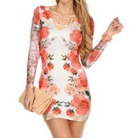 Coral/Ivory Floral Lace Bodycon Dress