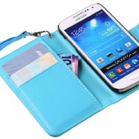 The Friendly Swede 2 in 1 Silk Pattern PU Leather Folio Stand Wallet Case for Samsung Galaxy SIV Mini S4 Mini i9190 / i9192 / i9195 / i9198 + Stylus + Screen Protector + Cleaning Cloth in Retail Packaging (Blue)
