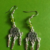 Dream Catcher - Earrings - Bohemian - Peridot - Green - Boho Jewelry
