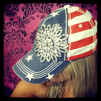GLITZ & GLAM IN STARS & STRIPES BASEBALL HAT - Default Title