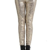 Romwe Women's Trendy Golden Sequins Spliced Leggings