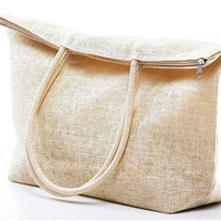 Mesh Bag Oversize Weave Straw Beach Tote Large Big Shoulder Handbag - Beige - Women Ladies - Handmade