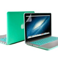 Macbook Pro Retina 13 Case, GMYLE(R) Turquoise Blue 3 in 1 Rubberized (Rubber Coated) Hard Case Cover - Silicon Keyboard Cover- Clear LCD Screen Protector - (Not Fit For Macbook Pro 13)