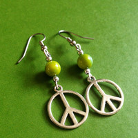Peace Earrings - Green, Peridot - Bohemian - Hippie - Peace Sign