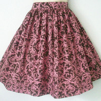 Brown and Pink Filigree Damask Retro Dirndl Skirt / by Eclectasie