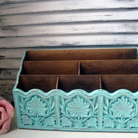 Aqua Vintage Mail Holder, Aqua Blue Painted Office Organizer, Beach Cottage Letter Holder, Bill Holder, Shabby Chic Home or Office Organizer