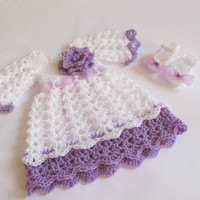 Baby dress and shoes in white purple color baby clothes first outfit take home hospital matinee infant frock newborn dress