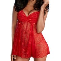 iB-iP Womens Low-Cut Sexy Lace Pattern One Piece Sexy Lingerie
