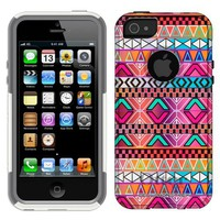 Otterbox Commuter Series Aztec Andes Bright Pink Purple Pattern Hybrid Case for iPhone 5 & 5s