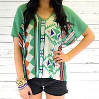 Fairview Green Semi-Sheer Aztec Top