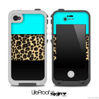 Three-Toned Turquoise Cheetah V4 Skin for the iPhone 5 or 4/4s LifeProof Case