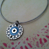 Blue Tribal Pattern Charm Bangle Bracelet