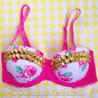 Studded Bustier Bra Top - Pink Floral Print with Pink Lace - Gold or Silver Studs