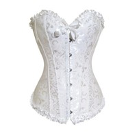 Muka Women's White Tapestry Brocade Fashion Corset Bustier, Gift Idea S