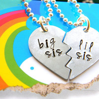 big sis lil sis set of two half hearts necklaces aluminum made customizable