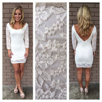 Ivory Lace Scalloped & Low Back Dress