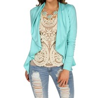 Mint Ponte Ruffle Jacket