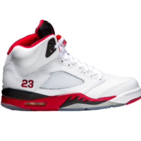 "Air Jordan 5 Retro ""Fire Red"" (White/Black/Fire-Red) - Mens"