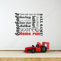 Baseball wall decal, decal, wall graphic, subway art vinyl decal, wall words sticker, typography, Sports