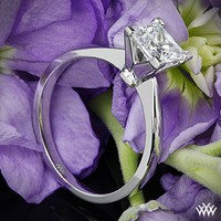 """18k White Gold """"Contemporary"""" Solitaire Engagement Ring for Princess Cut Diamonds"""