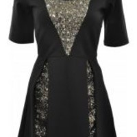 Black Sequin Skater Dress
