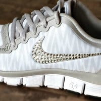 Nike free 5.0 v4 with Swarovki detail White animal print-click on picture to see better images!!!!