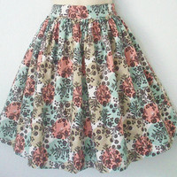Aqua Beige and Coral Floral Gathered Skirt Retro by Eclectasie