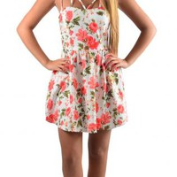 Coral Floral Spaghetti Strap Mini Dress