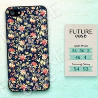 Noble Flower iPhone 4 Case Vintage Floral iphone Case iphone 4s case iphone 4g case Hard or Soft Case-FP01