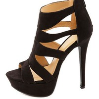 Caged Cut-Out Peep Toe Platform Heels