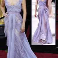 Mila Kunis Elie Saab Lavender Dress For 2011 Oscars — StyleFrizz