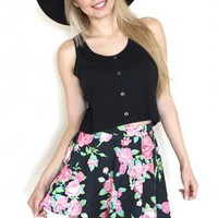 Spring Flower Skater Mini Skirt
