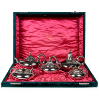 "Gorham Silversmiths Sterling ""Exotic"" Tea and Coffee Set in Original Gorham Presentation Chest 1880"