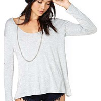 Nasty Gal Slashed Tee - Gray