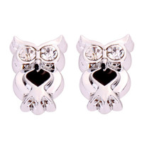 CUTEST 12mm Darling Little Silver and Black Owl Earrings