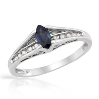 New White Gold Ring 0.32 CTW Sapphire , Diamond - 			        	For Your Little One: Designer Pieces Shop