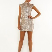 Gold sequin cap sleeved dress