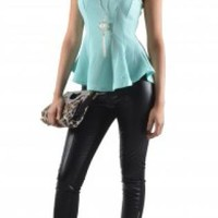 Mint Sleeveless Ruffled Peplum Top