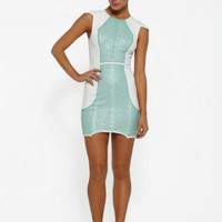 Pastel green and white cap sleeve sequin mini dress