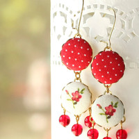 Dangle Earrings - Triple Red - Fabric Covered Buttons Earrings with Czech Glass Beads