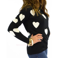 Heart To Heart Black & White Heart Print Sweater