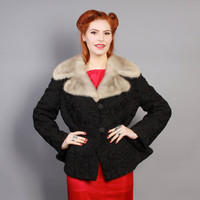 50s Persian Lamb & Mink COAT / FUR Cropped Jacket, s - m
