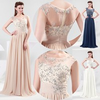Long Chiffon Evening Formal Party Ball Gown Prom Bridesmaid Dress 2 4 6 8 10 12+